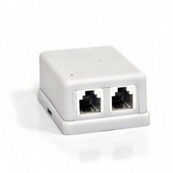 Telefonkábel dupla csatlakozó standard 6P4C 01-0300 (fehér)