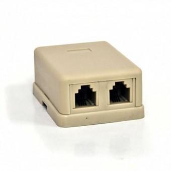 Telefonkábel dupla csatlakozó standard 6P4C 01-0301 (krém)