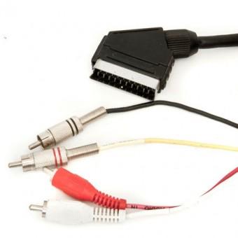 SCART dugó - 2RCA PVC dugó + 2RCA fém dugó kábel