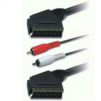 SCART dugó - SCART dugó + 2RCA dugó kábel 1.5M