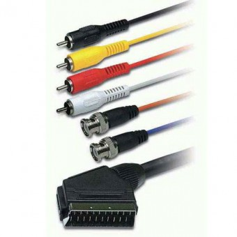 SCART dugó - 4RCA dugó + 2BNC dugó kábel 1.5M