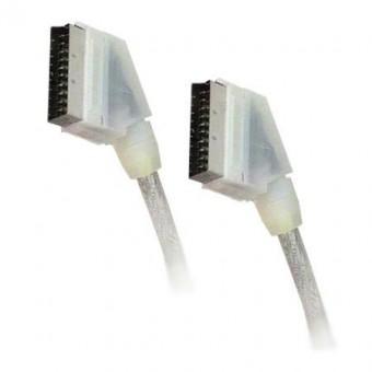 SCART-SCART 1.5M 21 pin 9 MM kábel (átlátszó fehér)