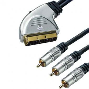 HT SCART - 3RCA GOLD kábel 3M