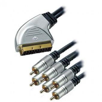 HT SCART - 6RCA GOLD kábel 1.5M