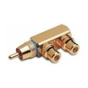 RCA adapter dugó - 2XRCA aljzat aranyozott